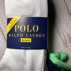 Polo Ralph Lauren Men Socks 4 Pair Quarter Length